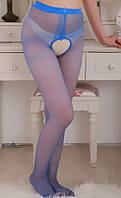 Эротические колготки с вырезом синие
