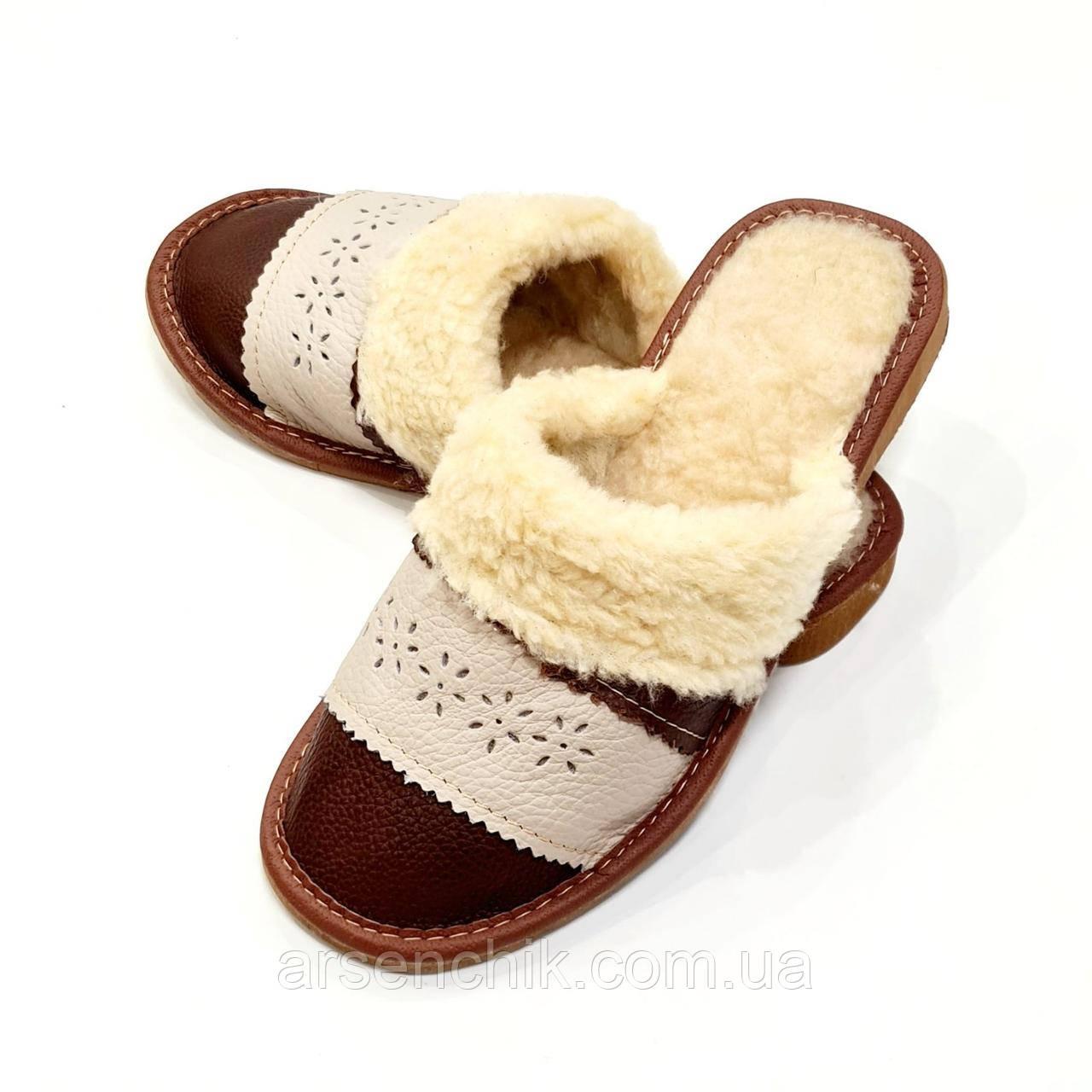 """Домашние кожаные тапочки женские на овчине """"Polmar"""" 39"""