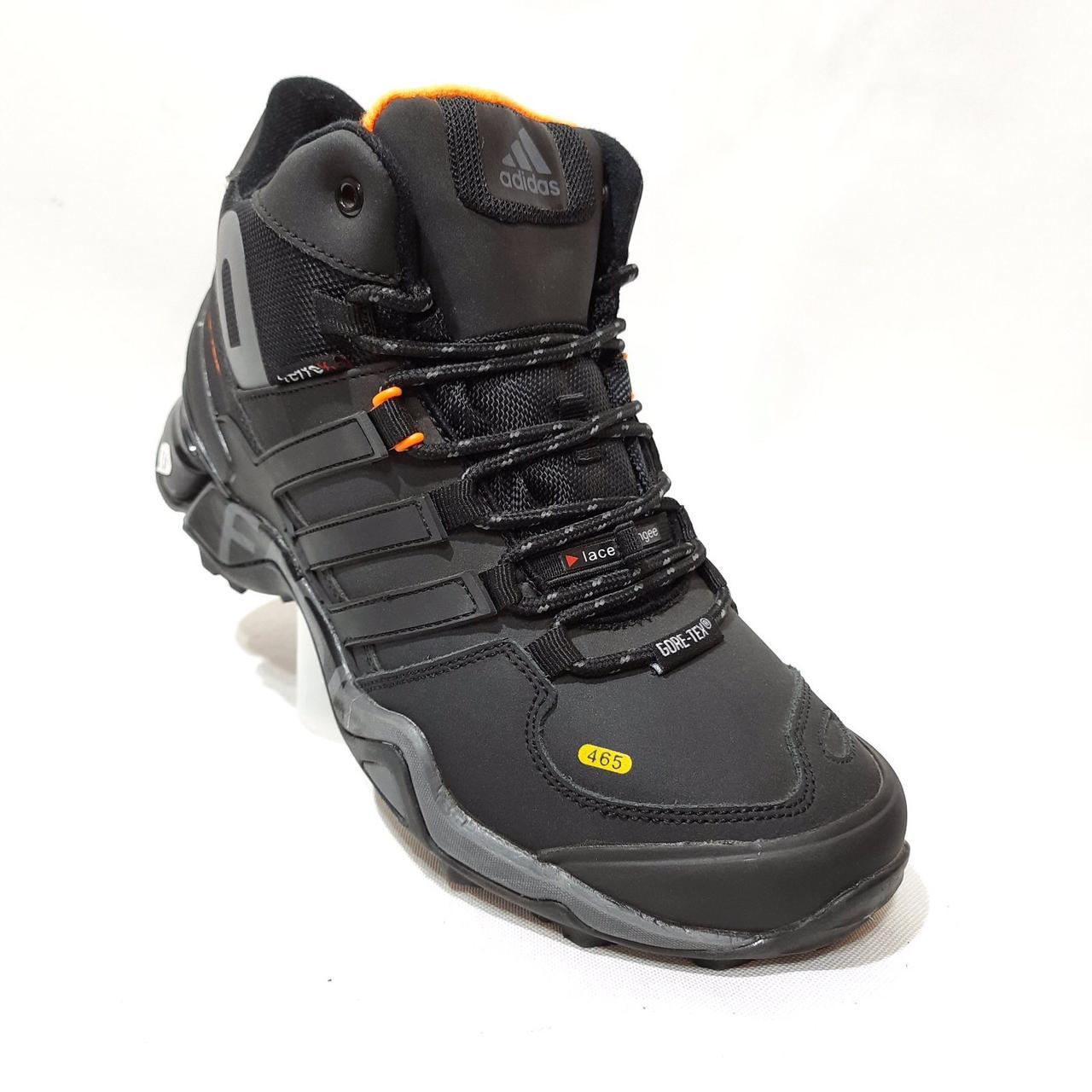 Зимові чоловічі шкіряні кросівки на хутрі Чорні