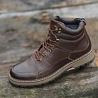 Ботинки мужские зимние кожаные коричневые (код 2008) - чоловічі зимові черевики шкіряні коричневі, фото 1