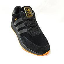 Зимові чоловічі замшеві кросівки на хутрі Чорні Маломірки