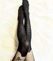 Колготки черный с имитацией леопардовых чулков