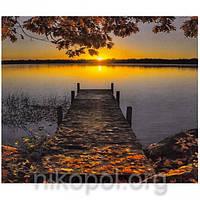 """Картина по номерам """"Закат на озере"""" на полотне, большая 400*500мм №30358"""