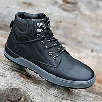Ботинки мужские зимние кожаные черные теплые (код 2001) - чоловічі зимові черевики шкіряні чорні, фото 1