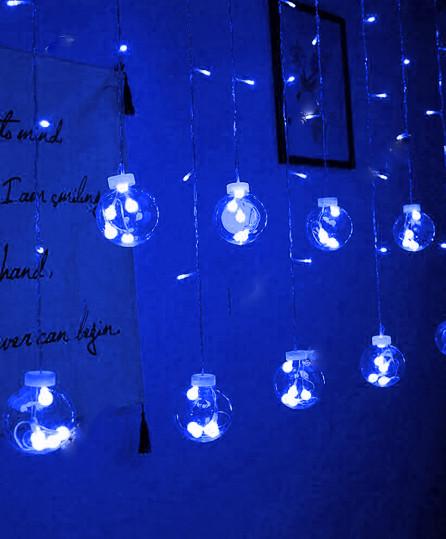 Электрическая гирлянда Штора шарики 12 шт, 2,5 м * 0,8 м, синий