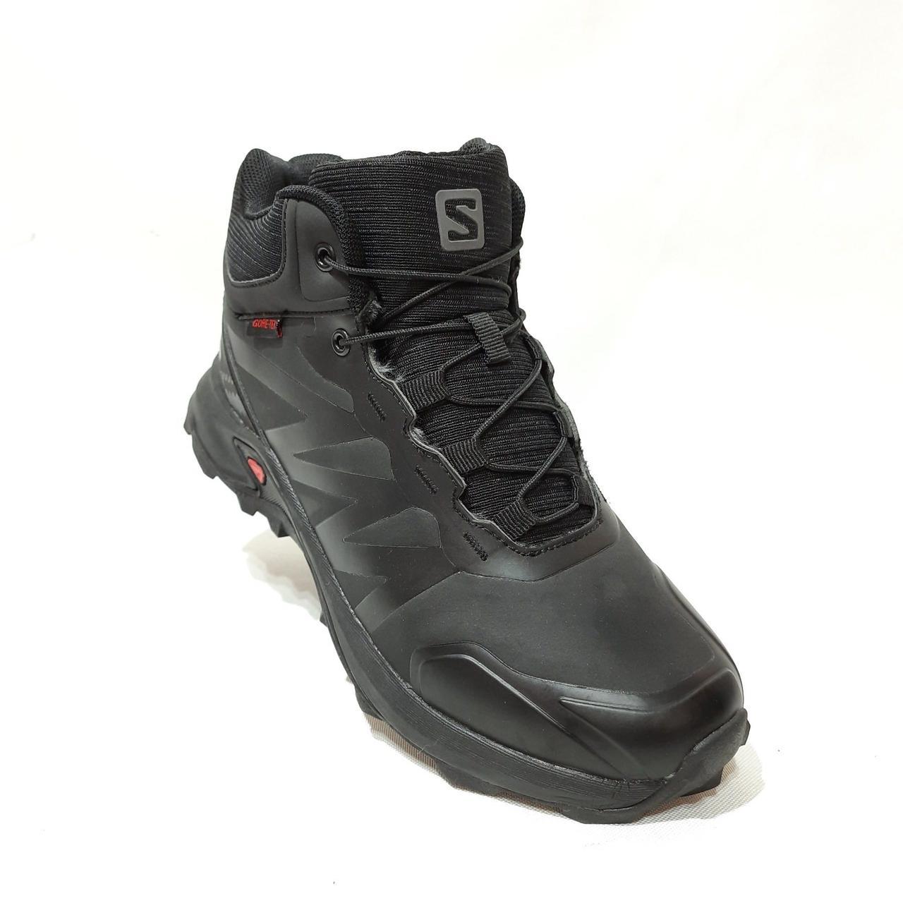 Зимние мужские прорезиненные ботинки на меху Черные