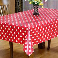 """Ламинированная клеёнка на стол """" ЛЮКС"""", ширина 140 см.(ТУРЦИЯ) Цвет красный в белый горошек."""