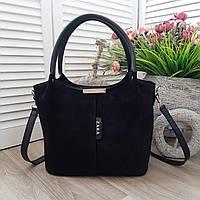 Черная замшевая женская сумка вместительная шоппер сумочка натуральная замша+экокожа