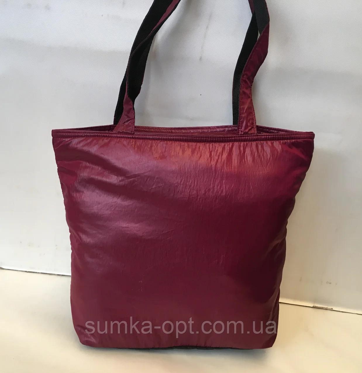 Женские стеганные сумки недорого (БОРДО)34*39см