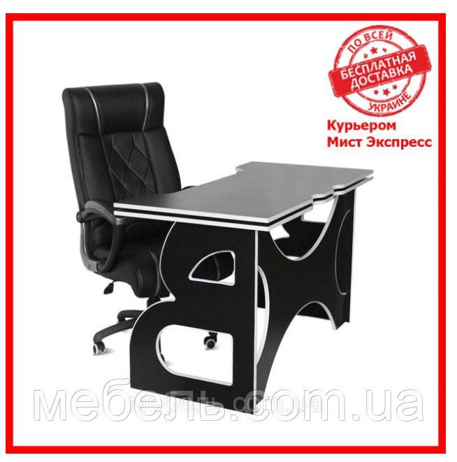 Компьютерный стол со стулом Barsky HG-06/LED/CUP-06 Game LED White, рабочая станция