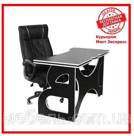 Компьютерный стол со стулом Barsky HG-06/LED/CUP-06 Game LED White, рабочая станция, фото 2