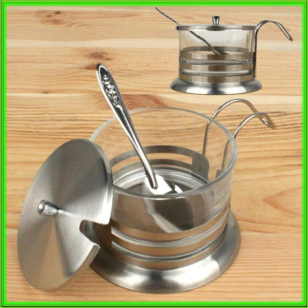 Сахарница металлическая с ложкой