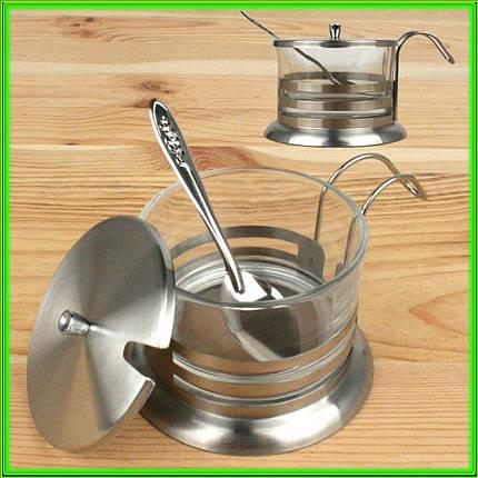 Сахарница металлическая с ложкой, фото 2