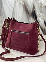 Жіноча сумка 4039 бордовий, купити жіночі замшеві сумки недорого в Україні, фото 1