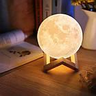 Лампа Луна 3D Moon Lamp Настольный светильник луна Magic 15 см 3DСвеночник светильник на сенсорном управлении, фото 2