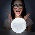 Лампа Луна 3D Moon Lamp Настольный светильник луна Magic 15 см 3DСвеночник светильник на сенсорном управлении, фото 4