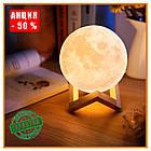 Лампа Луна 3D Moon Lamp Настольный светильник луна Magic 15 см 3DСвеночник светильник на сенсорном управлении, фото 7