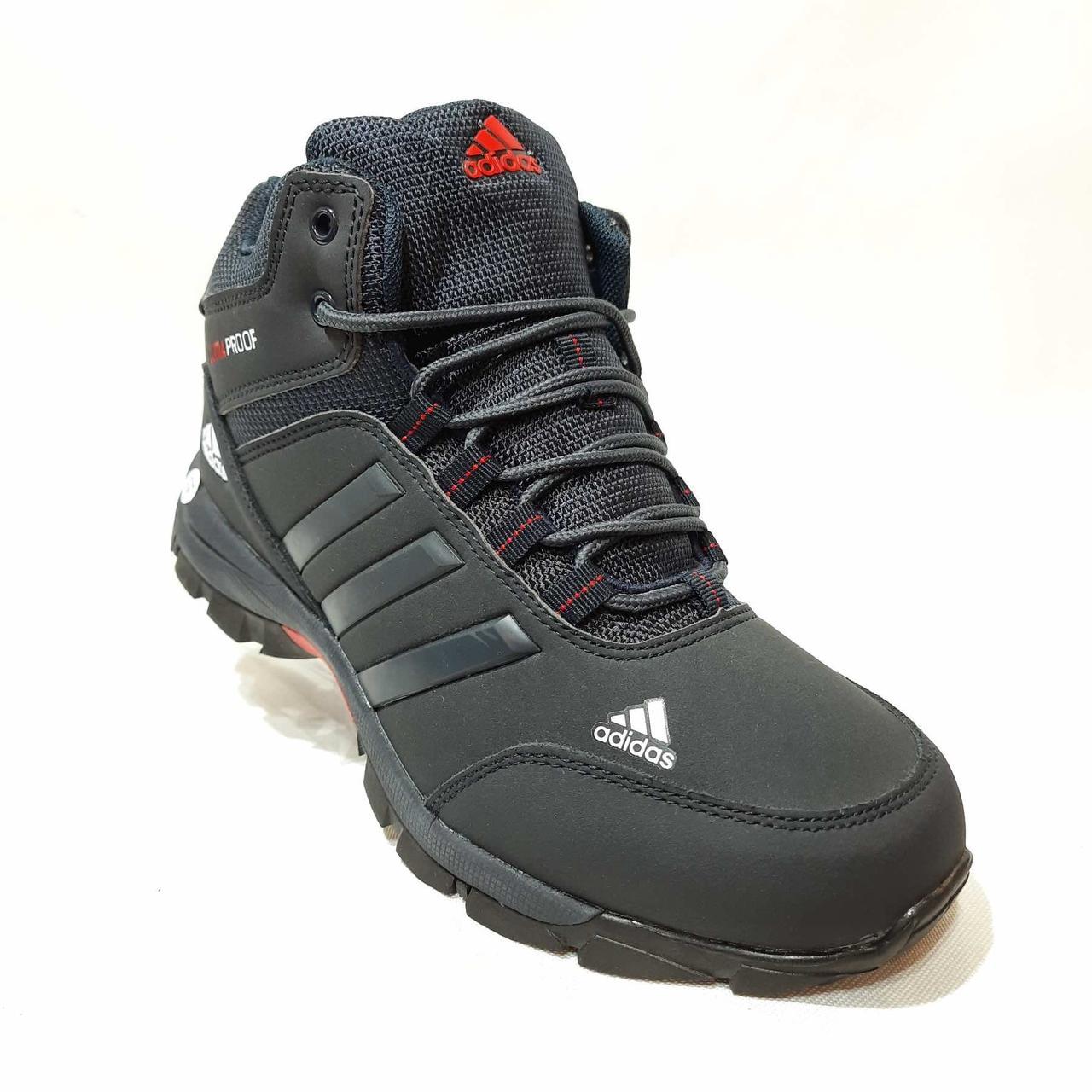Зимові кросівки шкіряні чоловічі на хутрі Чорні
