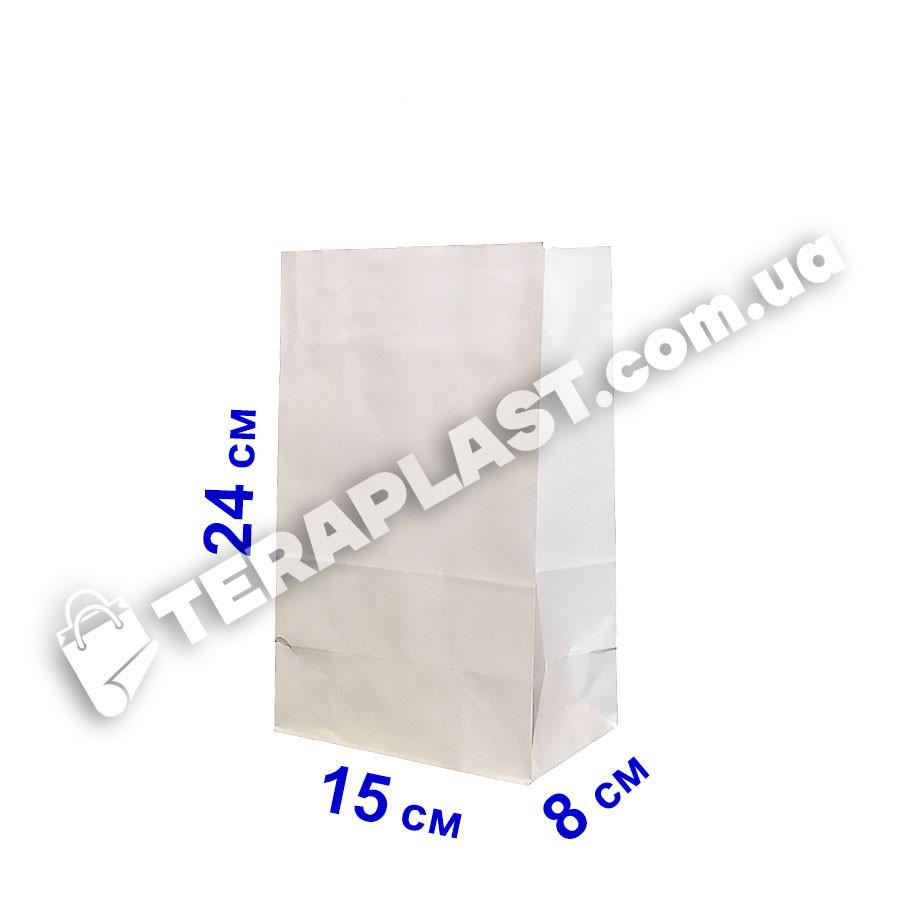 Бумажный пакет белый без ручек 150х80х240, плотность 80г/м²