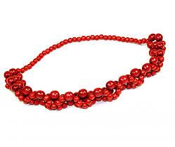 """Ожерелье """"Плетеное"""" красное (30 см) Д383ув"""