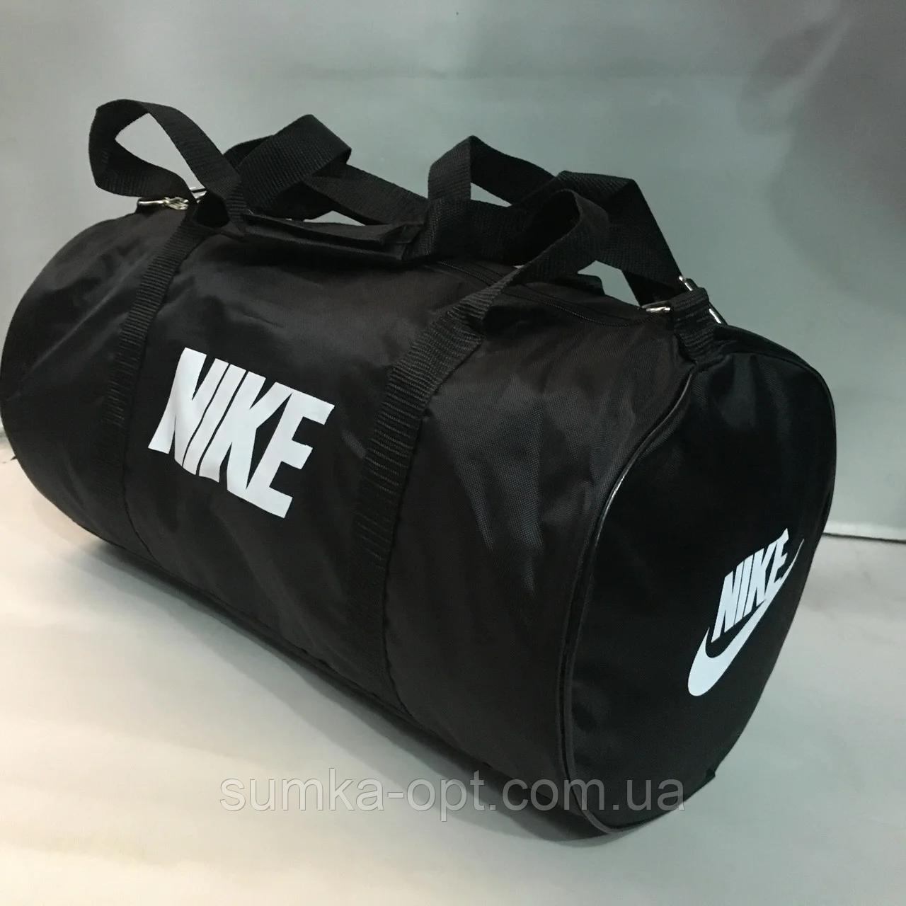 Дорожные спортивные сумки Nike из плащевки (В ЧЕРНОМ)24*47см