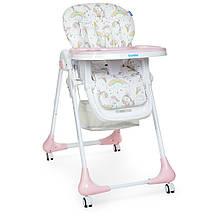 Стульчик для кормления на колесиках M 3233 Unicorn Pink
