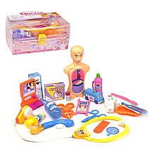 Докторский набор в чемодане, с анатомической моделью (розовый) 3819
