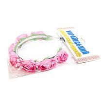 """Цветочный обруч """"Розовые розочки"""" (тонкий) ОУ020у"""