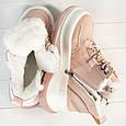 Кроссовки женские зимние теплые на меху розовые эко кожа b-452, фото 3