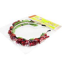 """Цветочный обруч """"Красные розочки с ягодками"""" ОУ016у"""