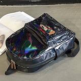 Женский большой голографический блестящий рюкзак SUNSHINE школьный портфель черный, фото 2