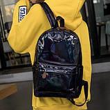 Женский большой голографический блестящий рюкзак SUNSHINE школьный портфель черный, фото 3