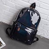 Женский большой голографический блестящий рюкзак SUNSHINE школьный портфель черный, фото 4
