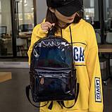 Женский большой голографический блестящий рюкзак SUNSHINE школьный портфель черный, фото 5