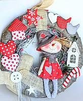 """Дизайнерський новорічний різдвяний вінок """"Сніговик на вінку"""" Ручна робота Червоний"""