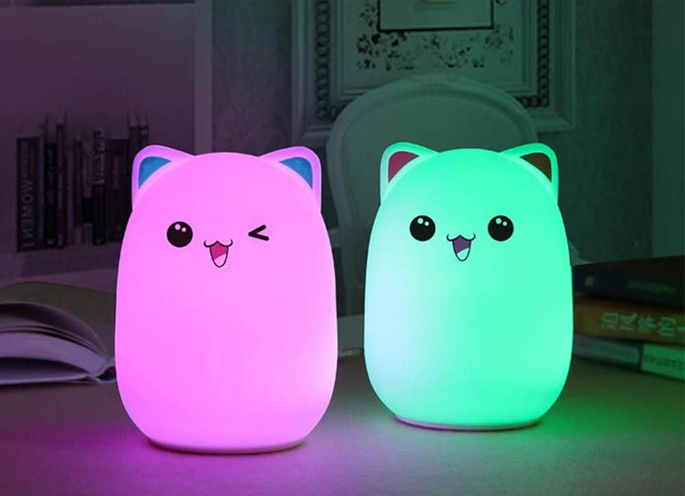 Ночной светильник силиконовый Котик Sleep Lamp 7 режимов цветов