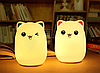 Ночной светильник силиконовый Котик Sleep Lamp 7 режимов цветов, фото 2