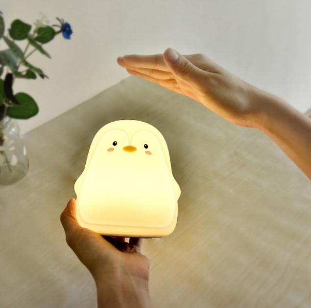 Силиконовый ночник светильник детский пингвин