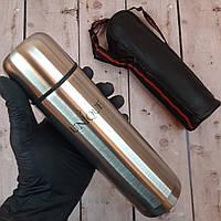 Термос металлический UNIQUE 500мл с чехлом вакуумный питьевой термос 0,5л металл (Живые фото)