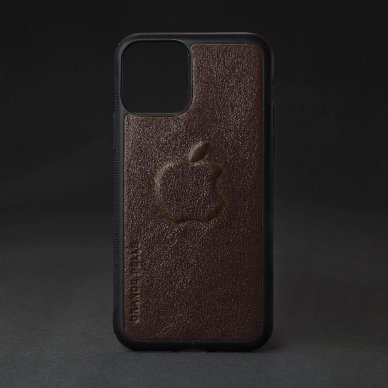 Кейс для IPhone, кон'як глянець, з металевою вставкою для автотримача