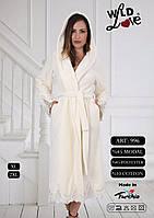 Женский халат махровый с кружевом, фото 1