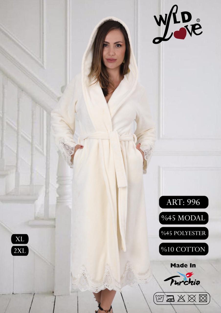 Женский халат махровый с кружевом