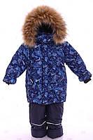 Детский зимний костюм-комбинезон Стиль синий с машинками