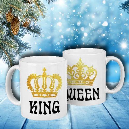 """Парные белые чашки (кружки) с принтом """"King. Queen"""""""