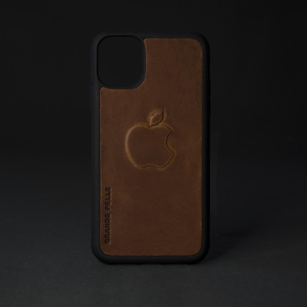 Кейс для IPhone, кон'як матова шкіра, з металевою вставкою для автотримача
