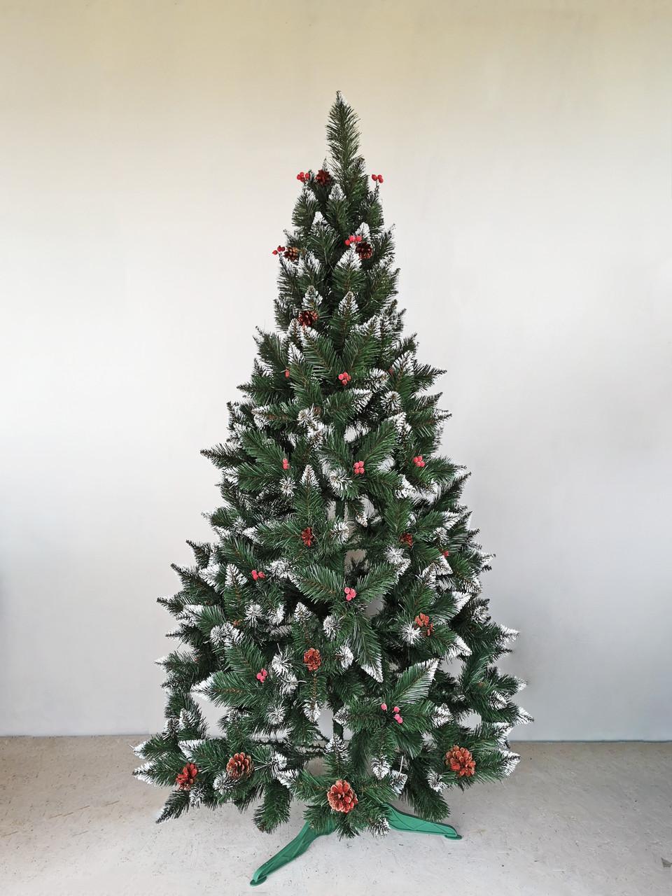 Елка с красной калиной и шишками 2,0 м Рождество с белыми кончиками