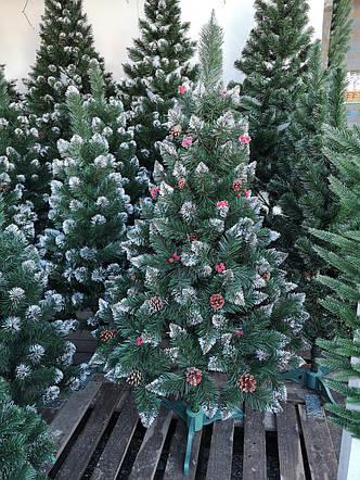 Елка с красной калиной и шишками 2,0 м Рождество с белыми кончиками, фото 2