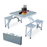 Туристический стол трансформер походной, стол чемодан раскладной для кемпинга стол +4 стула, набор для пикника, фото 3