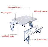 Туристический стол трансформер походной, стол чемодан раскладной для кемпинга стол +4 стула, набор для пикника, фото 4