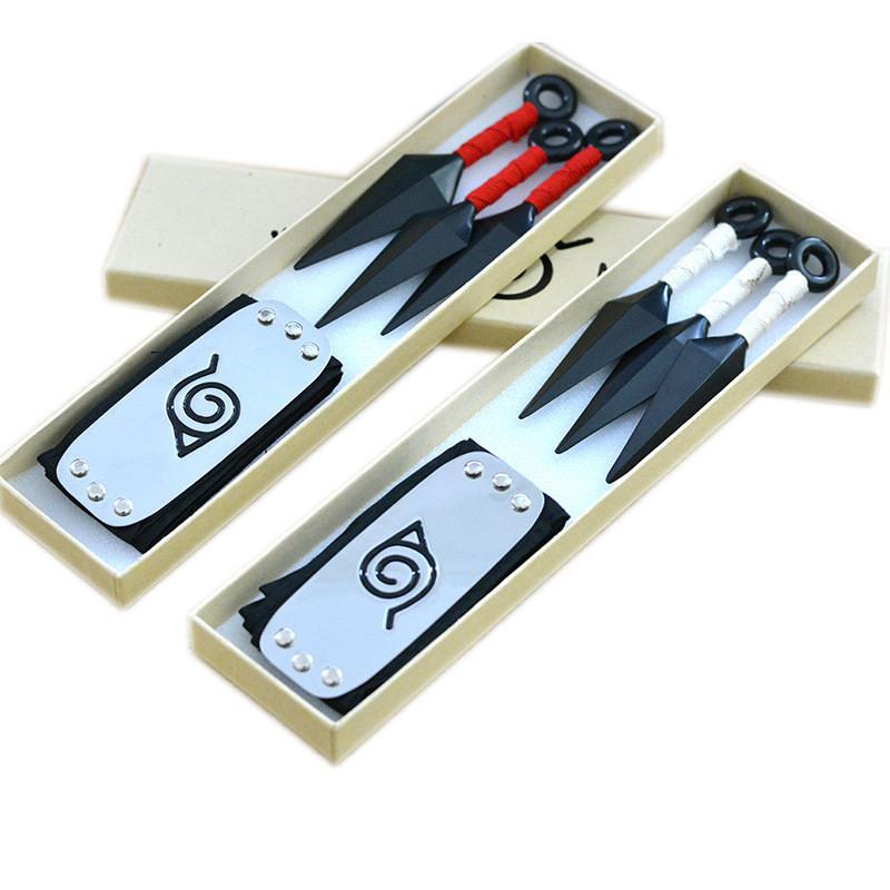 Набір аксесуарів Нарутов: 2 комплекти налобних протекторів + 6 кунаєв - Naruto Cosplay